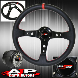 For 96 05 Civic 350mm Deep Dish Black Steering Wheel Red Stitching Adapter