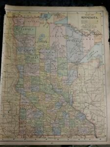 Original 1890 Map Of Minnesota 10 X 14