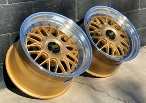 18x11 18x8 5 Esm 004m Gold Rims Wheels 5x130 Fits Porsche 997 Turbo C4s Gt3
