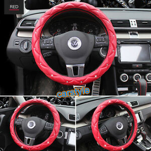 38cm Crystal Rhinestone Pu Leather Steering Wheel Cover Shiny Bling Bling Red 1x