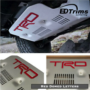 Red Trd Pro Skid Plate Domed 3d Letters Inserts For Toyota Fj Cruiser 2010 2014