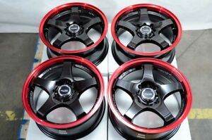 15 Wheels Acura Integra Accord Civic Miata Cooper Corolla 4 Lugs Black Red Rims