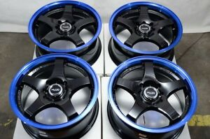 15 Wheels Prius Accord Civic Jetta Mirage Lancer Corolla 4 Lugs Black Blue Rims