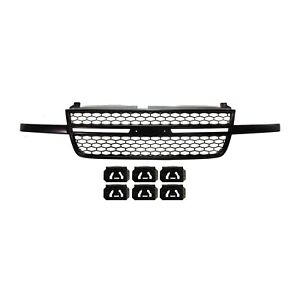 Front Upper Black Grille Assembly For Chevy Silverado 1500 Ss Pickup Truck New