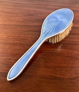 Tiffany Co Hand Wrought Sterling Silver Guilloche Enamel Hair Brush