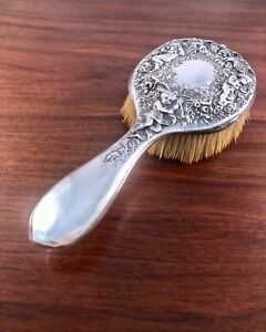 Large Gorham Co Sterling Silver Hair Brush Repousse Floral Putti Design