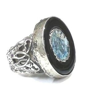 Roman Glass Ring Sterling Silver Ancient Fragment 200 Bc Round Black Onyx New