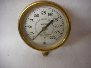 Brass Us Air Water Gauges Reliable Automatic Sprinkler Co Mount Vernon Ny 2pcs