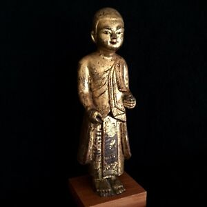 Antique 19th Century Burmese Mandalay Standing Buddha Disciple Wood Statue