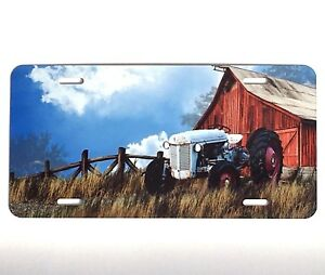 Country Red Barn And Tractor Vanity License Plate Car Tag