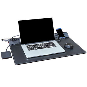 Black Leather Desk Pad Protector 25 X 17 With 4 Port Usb