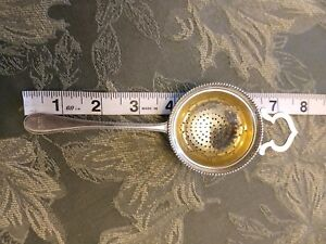 1874 Wilkens 13 Antique Tea Strainer Solid Silver 812 Near Sterling