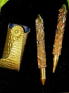 Rare Antique Victorian Jeweled Gold Pencil Pen Set In Gold Case Preowned