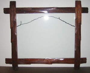Vintage Adirondack Tramp Art Wood Frame Glass For 7x9 Picture 20 S