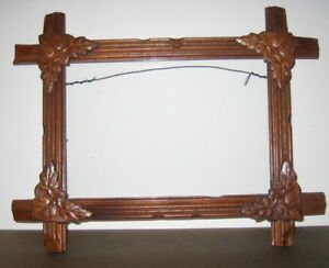Vintage Adirondack Tramp Art Wood Frame Glass For 5x7 Picture 20 S