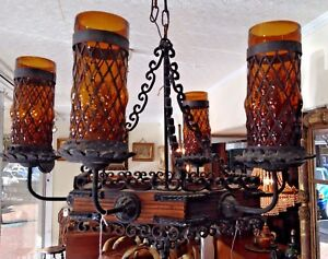 Vintage Spanish Revival Gothic Chandelier Wrought Iron Wood With Amber Shades