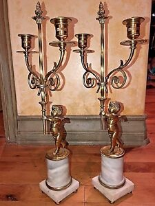 Antique Pair Of Bronze And Marble Cherub Candelabras