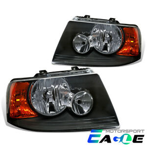 2003 2004 2005 2006 Ford Expedition Factory Style Black Headlights Lamps Set