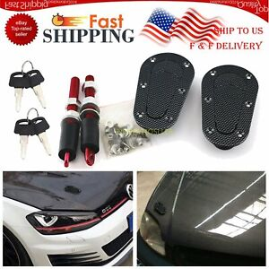 Racing Hood Pin Plus Flush Mount Quick Latches Lock Clip Bumper Key With Without