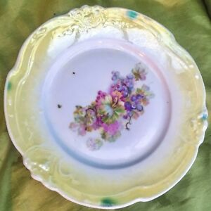 Antique Gh Germany Plate Greiner Herda Yellow Embossed Hand Painted Grapevine