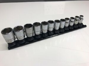 Snap On 3 8 Dr Shallow 6pt Socket Set 8 19mm On Quick Release Snap On Rail Mint