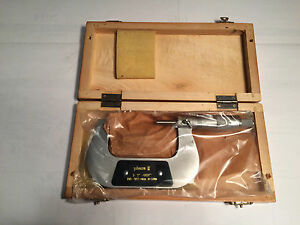 Phase Ii 100 003 2 3 0001 Outside Micrometer With Wooden Case