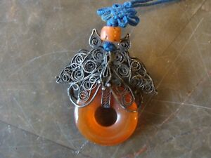 Antique Chinese Silver Filigree And Carnelian Butterfly Moth Pendant