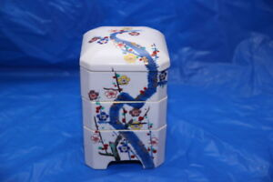 Antique Japanese Ceramic Jubako Bento 3 Tier Stacking Box Lid Tree And Flowers