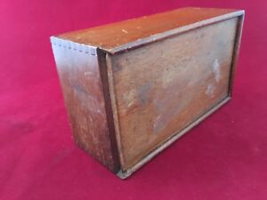Vintage Wood Box With Sliding Cover With Awesome Dove Tail Corners Age Unknown