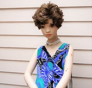 Vintage Realistic Preteen Girl Child Standing Mannequin With Wig And Stand