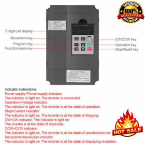 1 5kw 2hp 220v Variable Frequency Drive Inverter Cnc Vfd Vsd Single To 2 Phase
