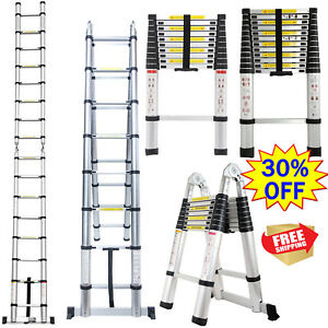 10 5 12 5 16 5ft Multipurpose Aluminum Ladder Safe Fold Extend Telescopic Steps