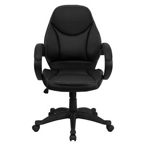 Contemporary Leather Mid back Office Chair Black