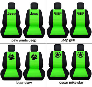 Fit Jl Wrangler Front Car Seat Covers Blk Lime Green W Bear Claw Punisher