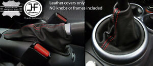 Red Stitch Leather Shift E Brake Boot Set For Mini Cooper R50 R53 S One 01 06