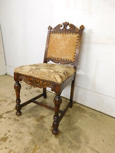 Antique 1930s Jacobean Gothic Style Walnut Highly Carved Bedroom Chair Batesvill