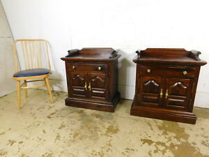 Pair Vintage Ethan Allen Old Tavern Pine Nightstands Side Table Record Cabinets