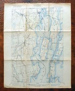 Rouses Point New York Vermont Antique Usgs Topographic Map 1907 Lake Champlain