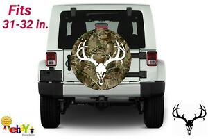 31 32 Inch Spare Tire Cover Woodlands Camo Deer Skull Jeep Suv Hummer