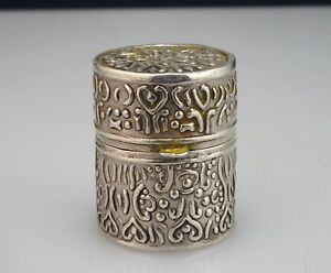 Vintage Sterling Silver Thimble Or Pill Box Or Pendant 54537