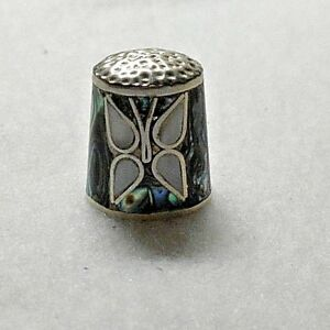 Vintage 925 Sterling Silver Abalone Shell Mother Of Pearl Butterfly Thimble