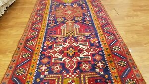 3 X 14 Finest Genuine Persian Heriz Tribal Hand Knotted Rug Wool Runner