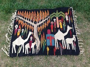 Vintage Egyptian Kilim 36x42 Inch Hand Made Wool Area Rug