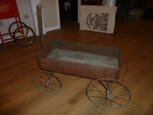 Antique Primitive Tin Wood Express Advertising Child S Pull Wagon Early