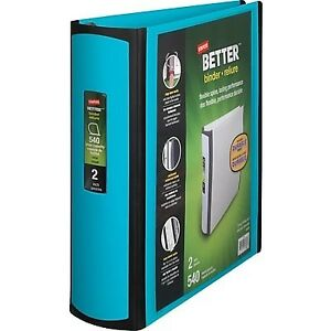 Staples Better 2 inch D ring View Binder Teal 13470 cc
