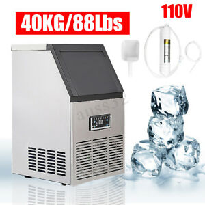 90lbs Commercial Ice Cube Maker Machines Stainless Steel Bar 110v 230w 40kg Us