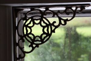 2 Farm Window Corner Shelf Bracket Cast Iron Spiderweb Rustic Country B 7