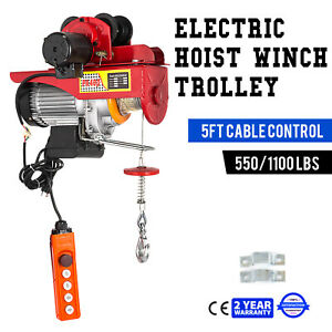 Electric Wire Rope Hoist W Trolley 40ft 550 1100lb Durable Industrial 1000w