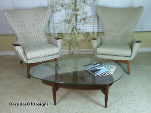 Rare Adrian Pearsall Tear Drop Coffee Table With Original Glass Eames 1960s
