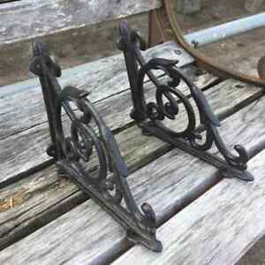2pcs Black Vintage Cast Iron Brackets Garden Braces Rustic Shelf Bracket Durable
